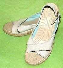 CROCS A-LEIGH Linen Wedge Slingback Sandals Linen Cross Top Open Toe - WOMEN'S 8