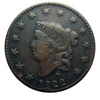 Large cent/penny 1822 high grade details
