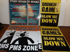 Lot Of 7 Imperfect Signs Pms Zone/Drinking Games/Study Hours