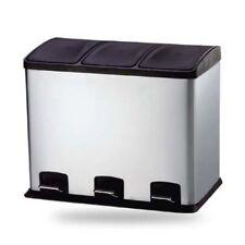 36 Liter 3 Fach Treteimer, Abfalleimer, Mülleimer Mülltrennung | Kombi 3 Kammer