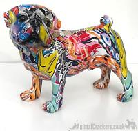 Graffiti Art bright colour splash standing Pug ornament figurine Dog lover gift