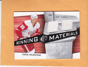 2008 09 SPX TOMAS HOLMSTROM WINNING MATERIALS DUAL JERSEY #WM-TH RED WINGS