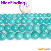 """Round Amazonite Blue Color Jade Loose Stone Spacer Beads For Jewelry Making 15"""""""