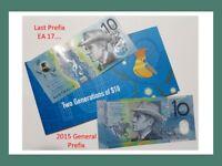 2017 two generations folder $10 Lowe/Fraser last prefix EA17 & 2015 General UNC