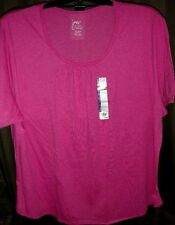 NWT HANES JUST MY SIZE 5X 30W-32W PINK SHIRRED SCOOPNECK WOMENS SUMMER T-SHIRT