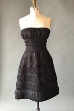 AZZEDINE ALAIA  BLACK STRAPLESS TIERED CORSET SKATER NETTED DRESS EUC SIZE S-M