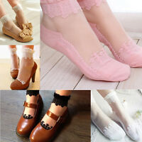 Ultrathin Transparent Beautiful Crystal Lace Elastic Floral Short Socks Charm