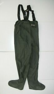 FLY-TECH Green Nylon STOCKING-FOOT FISHING WADERS Hunting Rain Pants Sz Men's L
