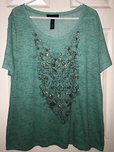 INC International Concepts Mandala Print Burnout Sequin T-Shirt Top Green EUC