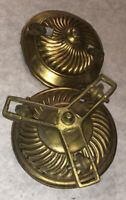 Antique Hanging Kerosene Oil Lamp Canopys Retractor 2 Pc Pulley Part Set Lot