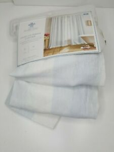 """Simply Shabby Chic Floral Embroidered Stripe Curtain Panel Blue Opaque 54""""x 84"""""""