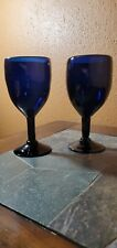 "Hand Blown Cobalt Blue Goblets Glasses 7 3/8"" Set of 2"