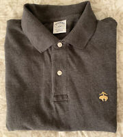 BROOKS BROTHERS SLIM FIT SHORT SLEEVE GRAY COTTON PERFORMANCE POLO SHIRT MENS L