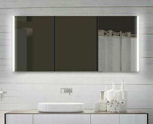 Aluminium LED Beleuchtung Bad Wand Hänge Badezimmer spiegel schrank 60 -160 cm