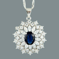 Oval Blue Sapphire 18K White Gold Plated Slide Pendant Necklace Curb Chain