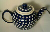 BOLESLAWIEC Ceramic Blue/White Teapot Hand Made in Poland K-5 4cup Nice