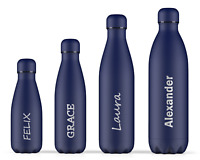 Personalised Name Blue Water Bottles Engraved Christmas Gift for Him Her Kids