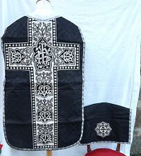French Chasuble Cover Chalice Black Damask Silk NeedlePoint 1880