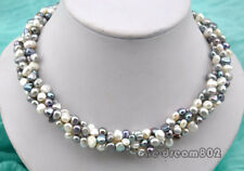 """17"""" 4strands 8mm baroque white black gray freshwater pearl necklace"""