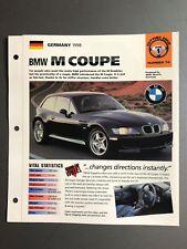 "1998 BMW M Coupe IMP ""Hot Cars"" Spec Sheet Folder Brochure Awesome L@@K"