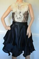 Marchesa Crystal Embellished Couture Lace Ruffle Cocktail Dress IT 44 / US 8