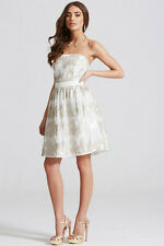 NEW Little Mistress Sequin Bandeau Fit And Flare Dress, Cream, Size 8, RRP £62