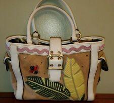 Vintage Coach 4439 Ladybug Boxy Tote Bag Burlap Leather Applique