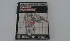 Transformers G1 HOT SPOT defensor instructions book manual EUROPEAN