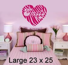 Personalized Zebra Print Heart & Name Vinyl Wall Decal Sticker