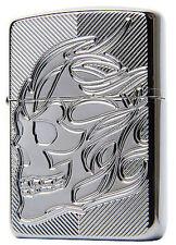 """Zippo Lighter """"Armor Skull"""" No 29230 - New on Black Ice Chrome"""