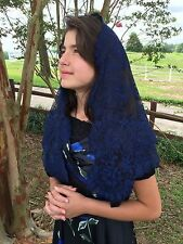 Navy Blue Spanish style veils and mantilla Catholic church chapel lace - Large