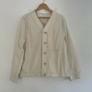 COS mens extra large xl l topstitched denim shirt bomber jacket off white