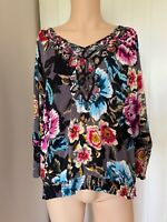 Ted Baker Blouse Shirt Top UK Size 2 Womens Ladies 3 Grey Floral Flower 10 12 14