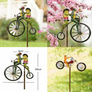 Animal on Bike Frog Yard Vintage Bicycle Windmill Garden Stake Wind Spinner Deco