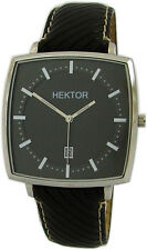 HEKTOR Monitor schwarz große viereckige Edelstahl Quarz Herrenuhr top Lederband