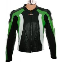 RTX EVO Racing GREEN Motorcycle Armoured Leather Jacket for KAWASAKI NINJA Biker