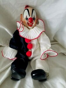 "Vintage Dynasty Doll Sitting Clown Porcelain Doll 16"" inch 1983 Collectible"