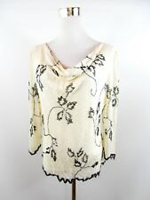 JACQUES VERT Woman Sequin Beads Embellished Formal Silk Blouse Top sz UK 16 BH17