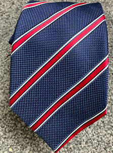 """Marks and Spencer blue red striped smart polyester classic tie 3"""" wide 57"""" long"""