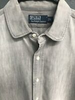 🏇👔Ralph Lauren Men's Long Sleeve Casual Shirt Large L Gray🏇👔