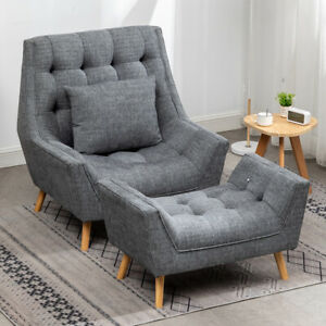 Upholstered Chenille Armchair with Large Bench Window Seat Footstool Suite Sofa