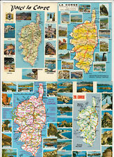 Lot 4 cartes postales CORSE Carte géographique 4