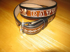 CUSTOM HAND MADE LEATHER  BELT WITH YOUR NAME  BROWN & BLACK 1 1/2 WIDE/ EAGLE