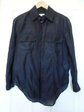 Equipment Femme womens size S navy Silk Blend button front blouse