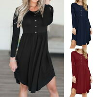 Damen Minikleid Langarm Tunika Boho Freizeit Kleid Knopf Rundhals Ballkleid P/D