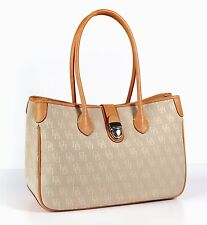 Dooney & Bourke Beige Signature Monogram Canvas Double Long Handle Tote Handbag