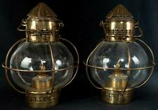 Rare Antique Pair 2 Tung Woo Brass Onion Lanterns Lamps