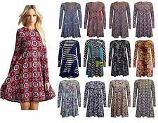 Women's Long Sleeves Printed Flared Swing Tunic Skater Ladies' Dress PLUS SIZE