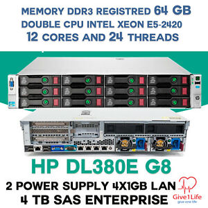 HP DL380e G8 14xLFF  2x E5-2420 12Cores 24 Threads 64Gb DDR3 + 4Tb SAS SERVER