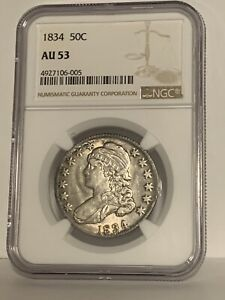 1834 Capped Bust Half Dollar NGC AU53 Large Date Large Letters